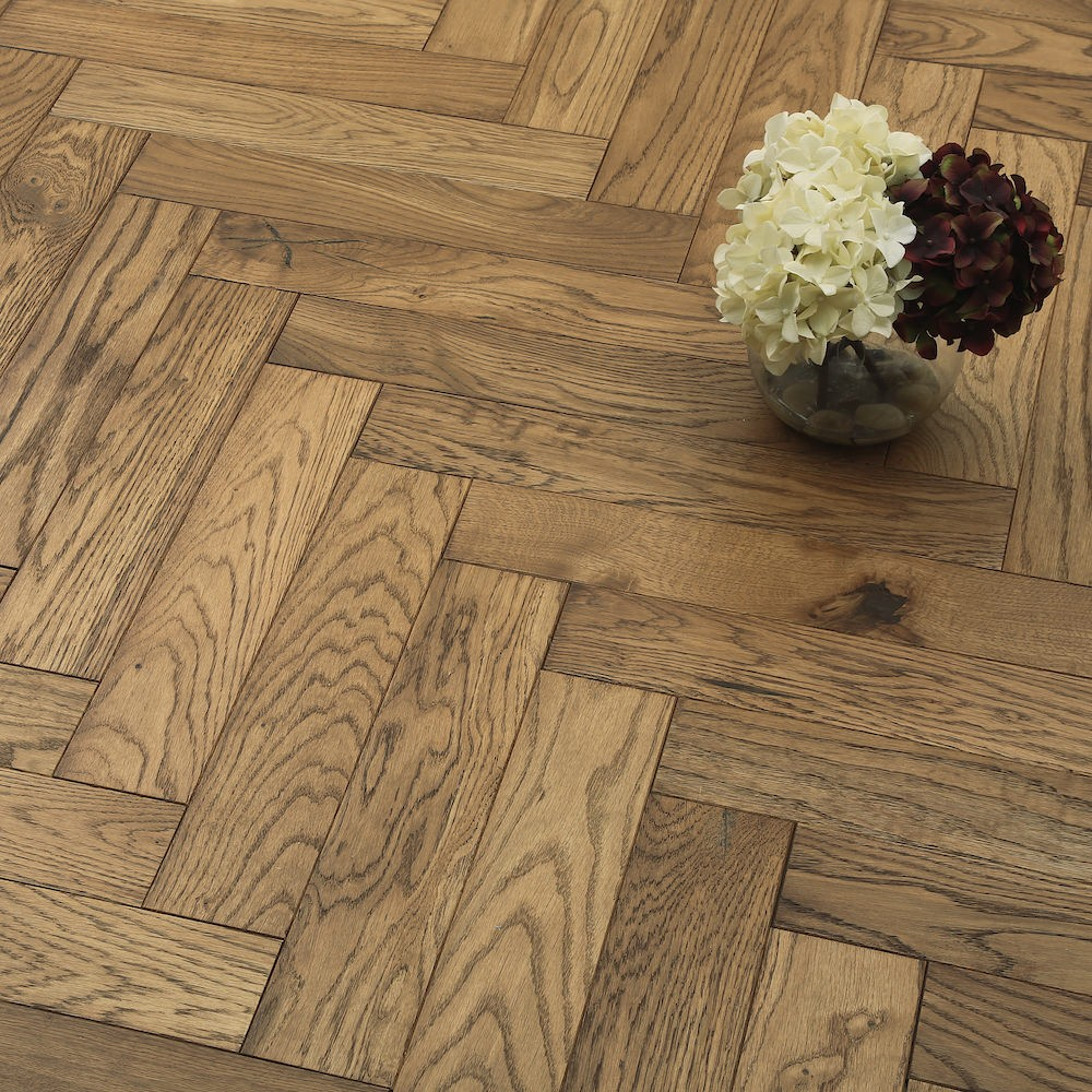 Hard wood flooring herribone pattern