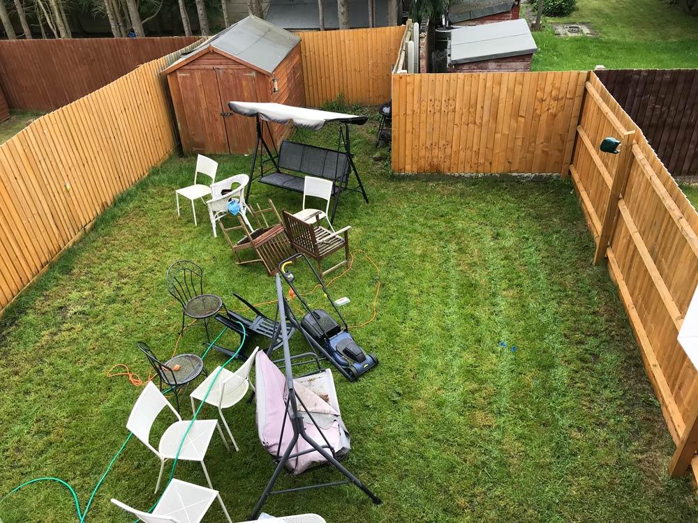 garden project before grass cluttered