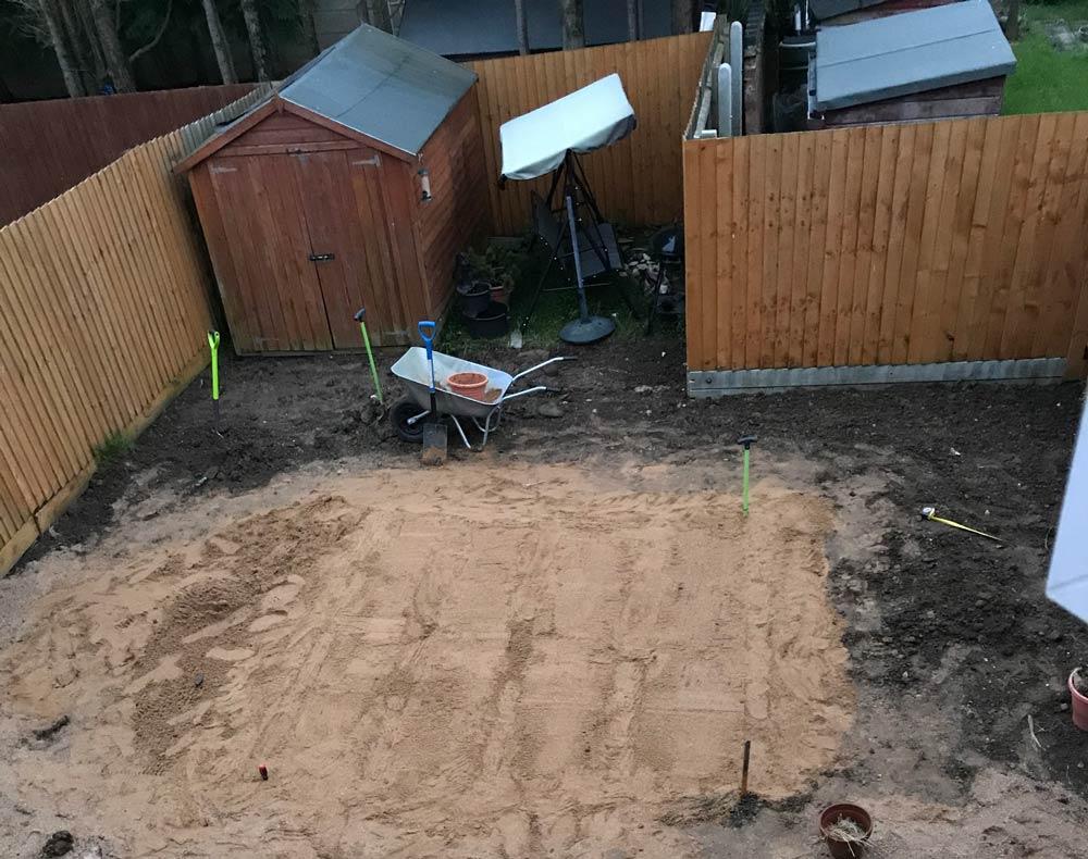 sand garden levelling